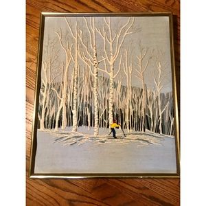 Vtg embroidered winter skier in woods wall art